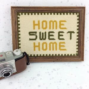 Vintage 70's Home Sweet Home Framed Cross-Stitch